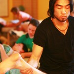 Student Focused on Massage at Ashland Institute of Massage (AIM)